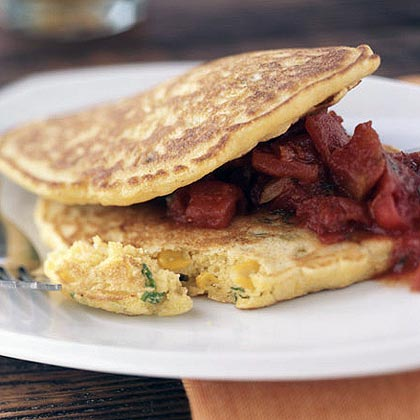 Double Corn Pancakes with Jalapeño and Chunky Tex-Mex Tomato Sauce