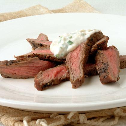 Peppered Steak with Horseradish-Chive Cream