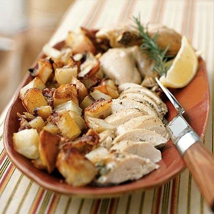 Lemon-Rosemary Roast Chicken with Potatoes
