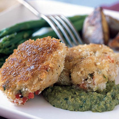 Red Snapper Cakes with Avocado-Tomatillo Sauce
