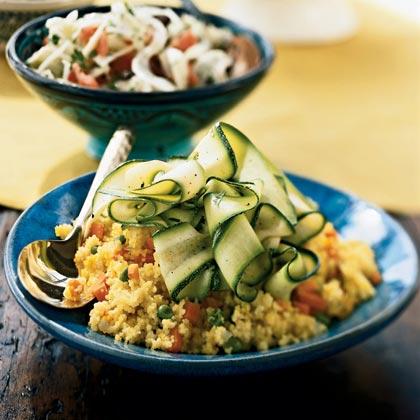 Zucchini Ribbons with Saffron Couscous