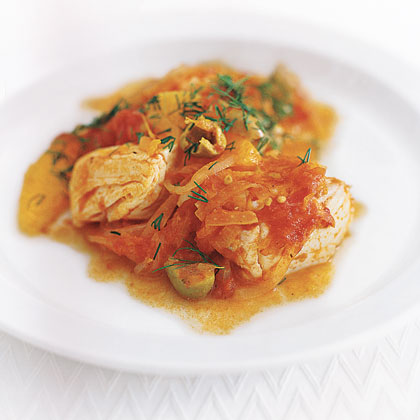 Halibut with Tomato, Orange, and Dill