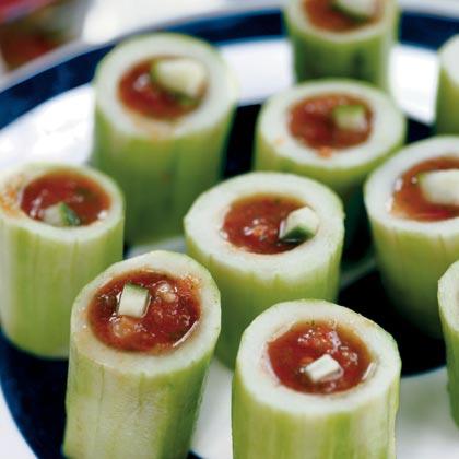 Gazpacho Shots in Cucumber Cannons
