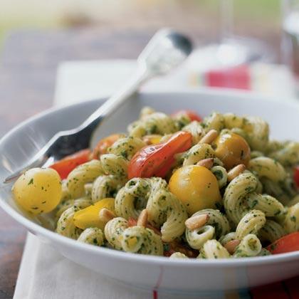 Cavatappi with Arugula Pesto and Cherry Tomatoes