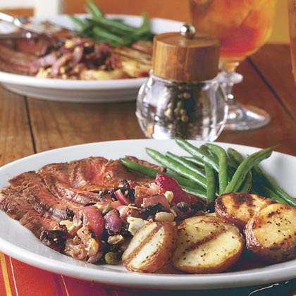 Grilled Steak and Potatoes With Red Onion Relish