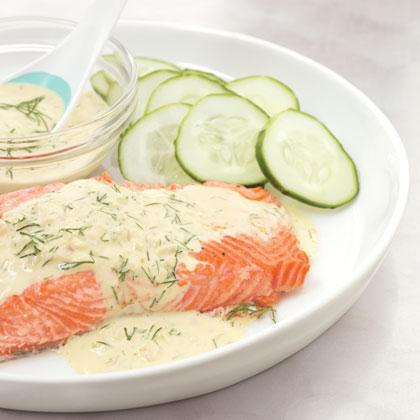 Salmon with Dijon Dill Sauce