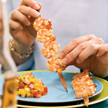 Grilled Shrimp with Mango and Red Onion Relish