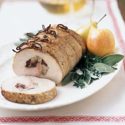 Pear and Cranberry Stuffed Pork Roast