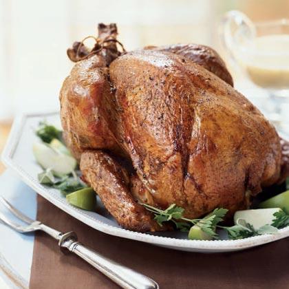 Apple-Grilled Turkey with Cider Gravy