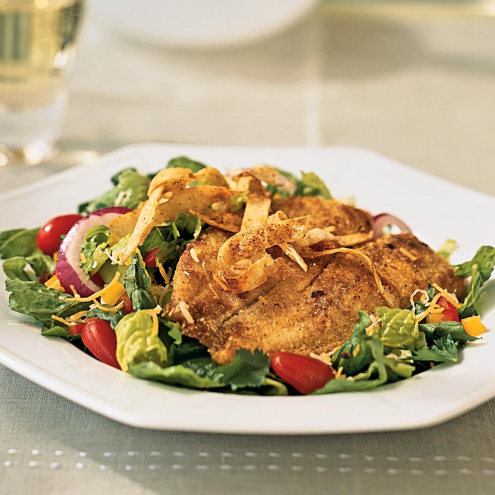 Cornmeal-Crusted Tilapia Salad
