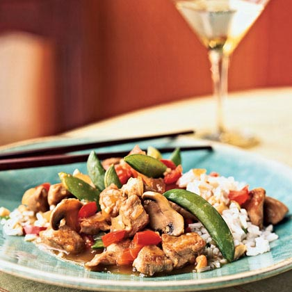 Pork and Vegetable Stir-Fry with Cashew Rice