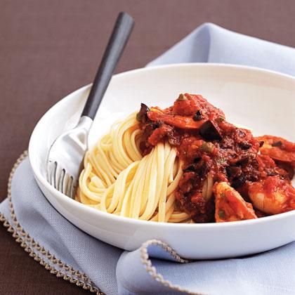 Shrimp and Pasta Puttanesca