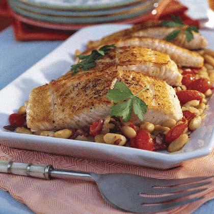 Mediterranean Salmon With White Beans