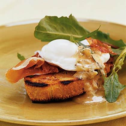 Breakfast Bruschetta with Prosciutto, Poached Eggs, and Warm Mustard Vinaigrette