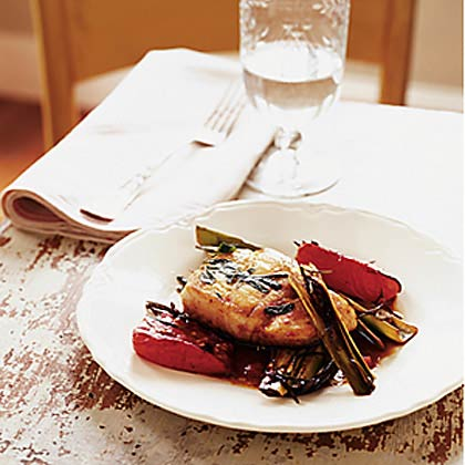 Pan-Roasted Cod with Roasted Tomatoes and Leeks