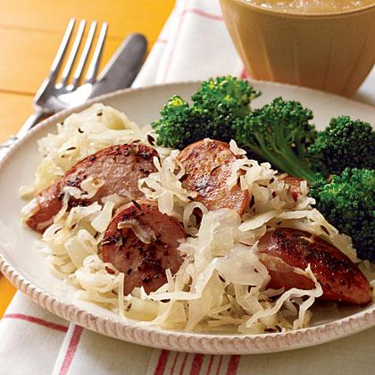 Pan-Grilled Sausages with Sauerkraut