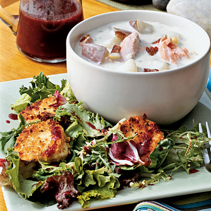 Hazelnut-crusted Goat Cheese with Mixed Greens and Blackberry Vinaigrette