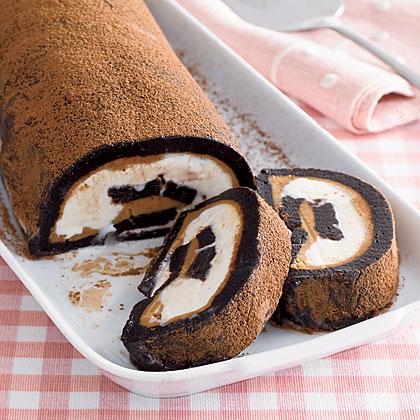 Brownie-Peanut Ice Cream Roll
