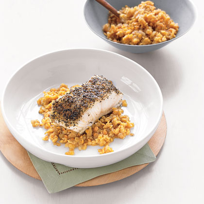 Spice-Baked Sea Bass and Red Lentils