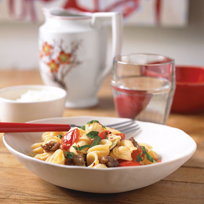 Pasta with Sausage and Red Bell Pepper