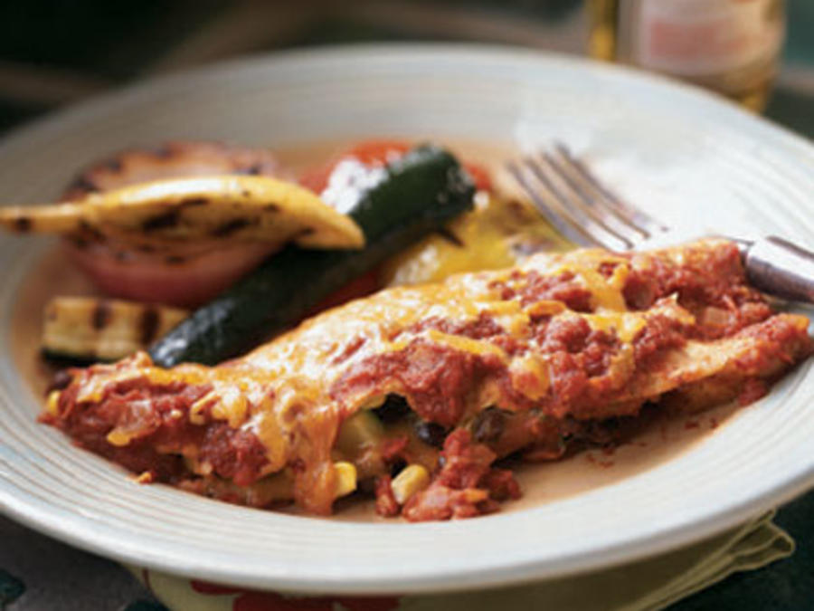 Black Bean, Corn, and Zucchini Enchiladas
