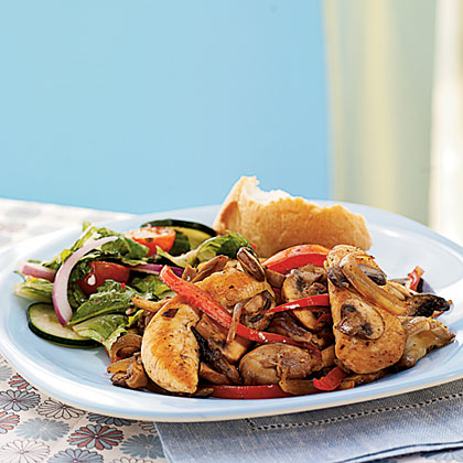 Chicken, Peppers, Onions, and Mushrooms with Marsala Wine