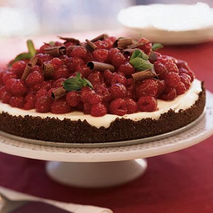 Chocolate Raspberry Tart with White Chocolate Cream