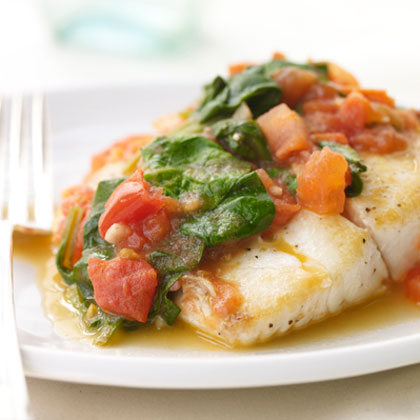 Sautéed Snapper with Plum Tomatoes and Spinach