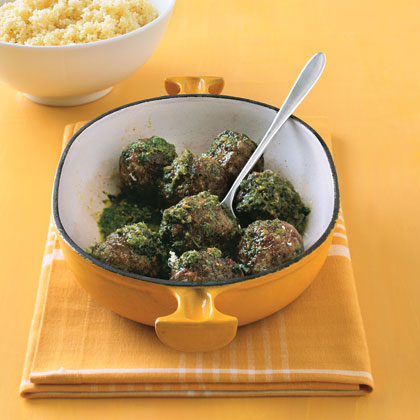 Pesto Meatballs and Couscous