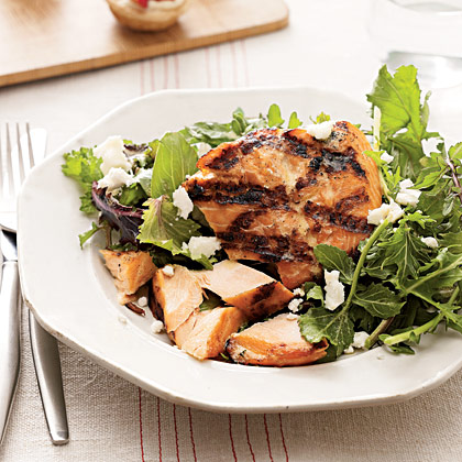 Grilled Salmon With Greens
