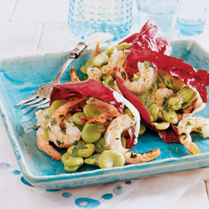 Fava Bean and Grilled Shrimp Salad in Radicchio Cups