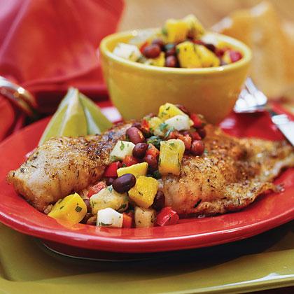 Caribbean Catfish With Mango-Black Bean Salsa
