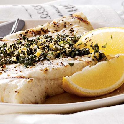 Grilled Halibut with Lemon-Mint Gremolata