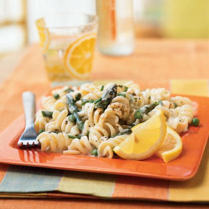 Pasta with Lemon Cream Sauce, Asparagus, and Peas