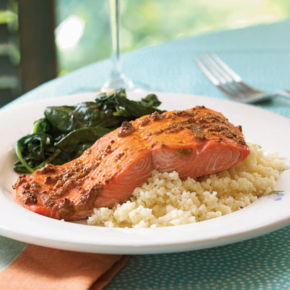 Spiced Salmon with Mustard Sauce