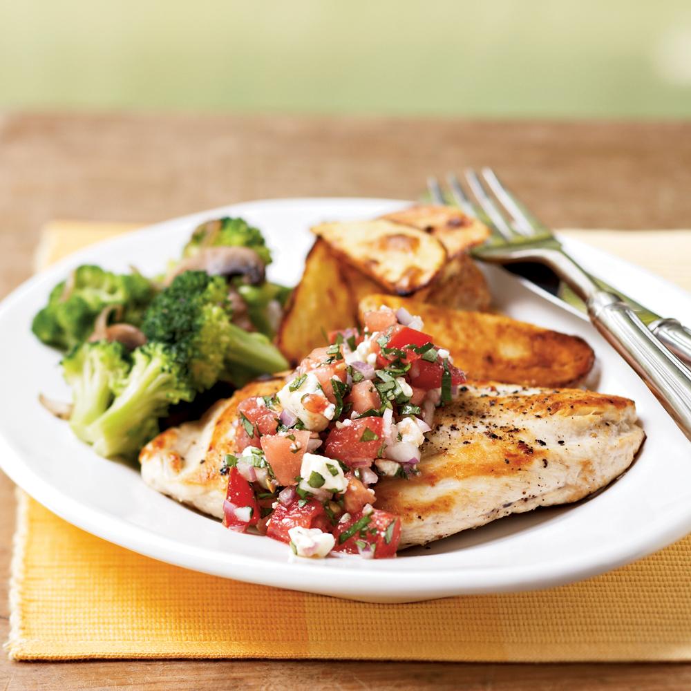 Chicken Breasts with Gorgonzola-Tomato Salsa
