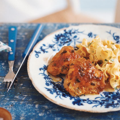 Mustard-Tarragon Roast Chicken with Egg Noodles
