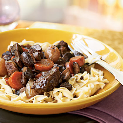 Beef Braised with Red Wine and Mushrooms