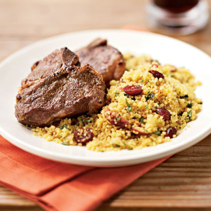 Broiled Cumin Lamb Chops with Curried Couscous