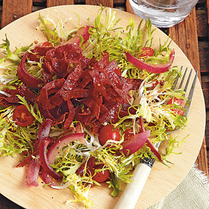Warm Frisee Salad With Crispy Kosher Salami