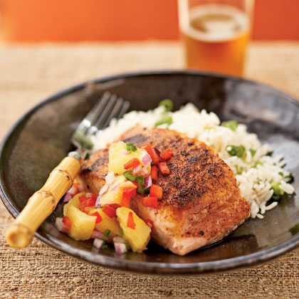 Pan-Seared Salmon with Pineapple-Jalapeño Relish