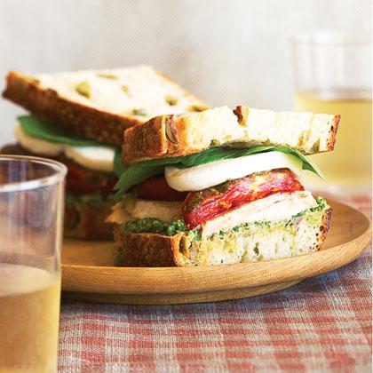 Turkey Sandwiches with Roasted Romas, Fresh Mozzarella, and Arugula-Walnut Pesto