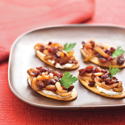 Caramelized Onion-Cranberry-Cream Cheese Bites