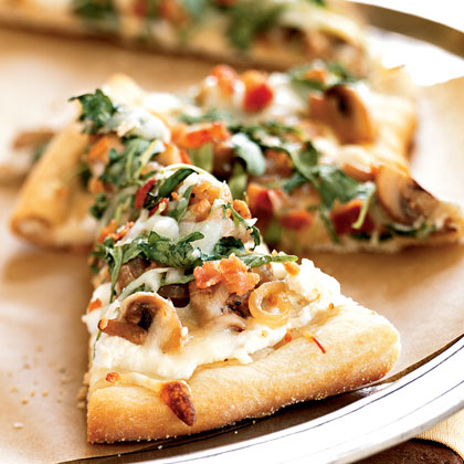 Pizza Bianca with Arugula, Bacon, and Mushrooms