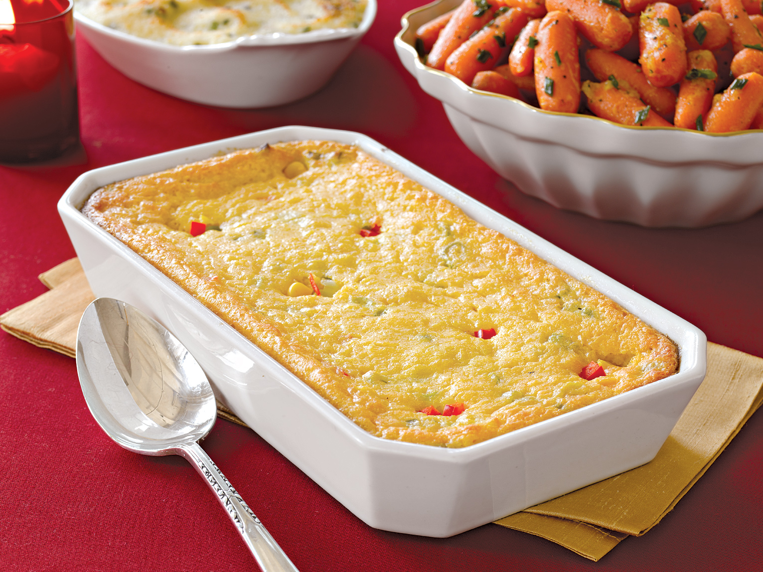 Corn Pudding with Scallions and Red Pepper