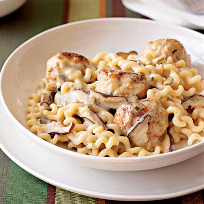 Turkey Meatballs and Pasta in Cream Sauce