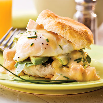 Spicy Ham-and-Eggs Benedict With Chive Biscuits