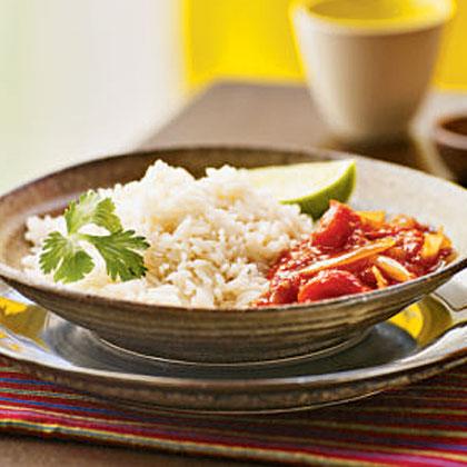 Coconut Rice with Spicy Tomato Sauce (Nasi Lemak with Sambal Tomat)