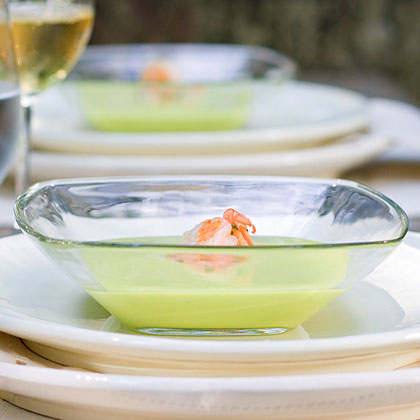 Avocado Soup With Marinated Shrimp