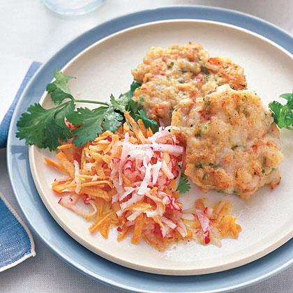 Shrimp Cakes with Carrot Slaw